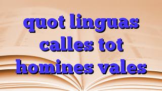 quot linguas calles tot homines vales